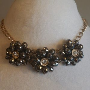 Fashion necklace with gunmetal beads